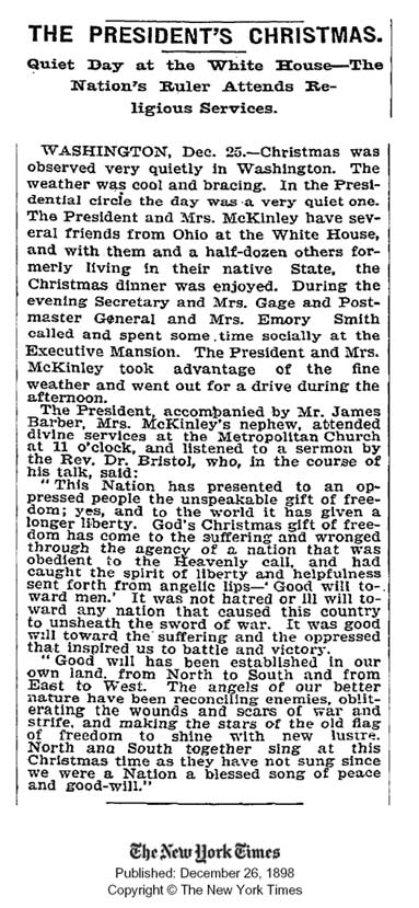 1898 article from the New York Times archive discussing how President McKinley celebrated Christmas