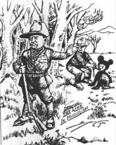 """1902 Washington Post illustration depicting the famous """"Teddy Bear"""" incident, coining the term for the popular Christmas gift"""