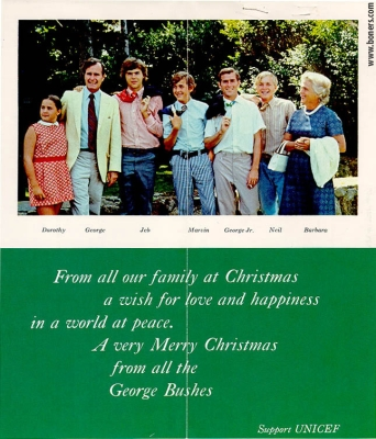 A Christmas card from...all the George Bushes...asking to Support UNICEF, date unknown