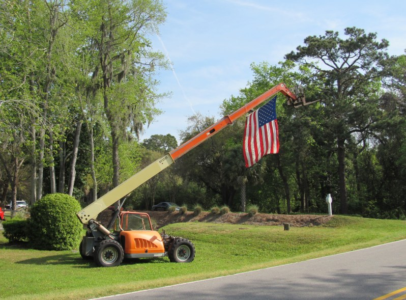 American flag on crane