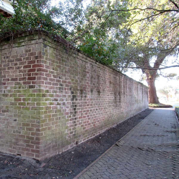 Brick courtyard wall