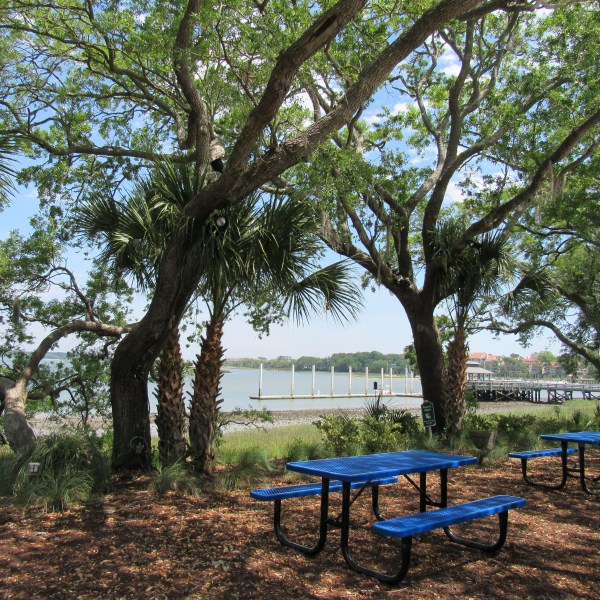 Blue picnic tables
