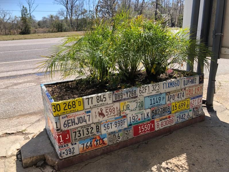 License plate planter