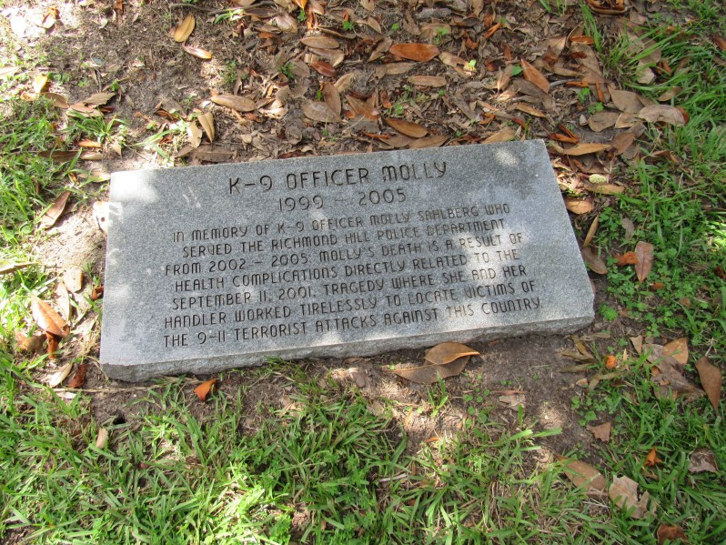 Memorial tree marker for K-9