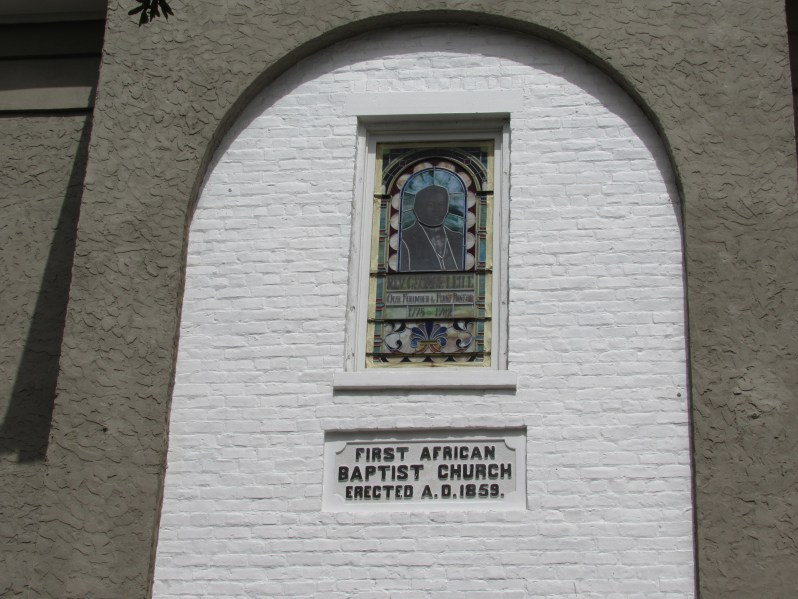 Stained glass church memorial window