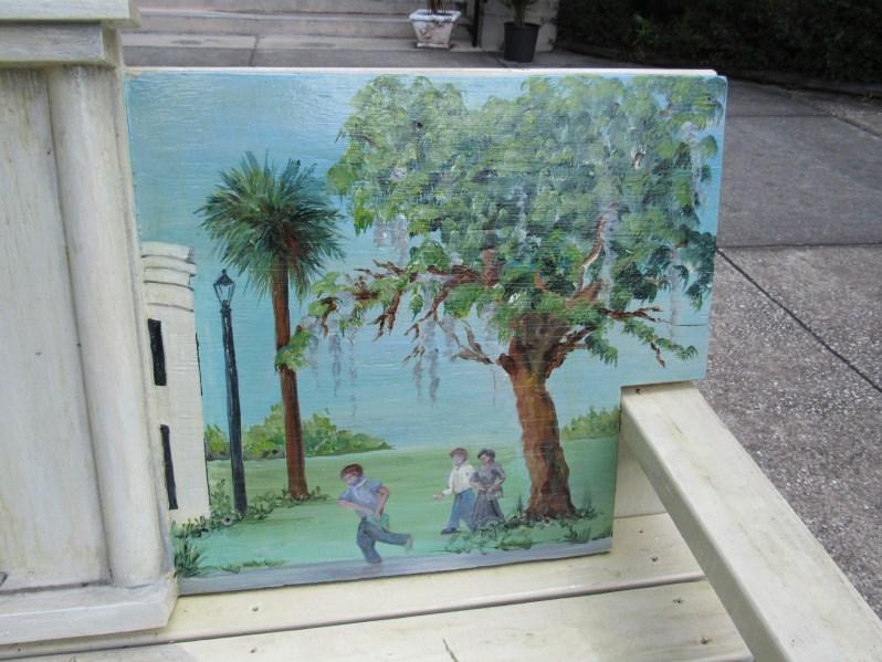 Palm and oak tree scene