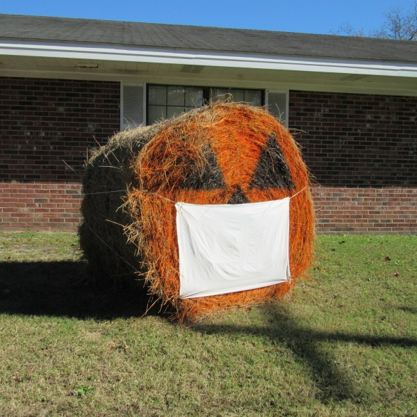 Hay bale with mask