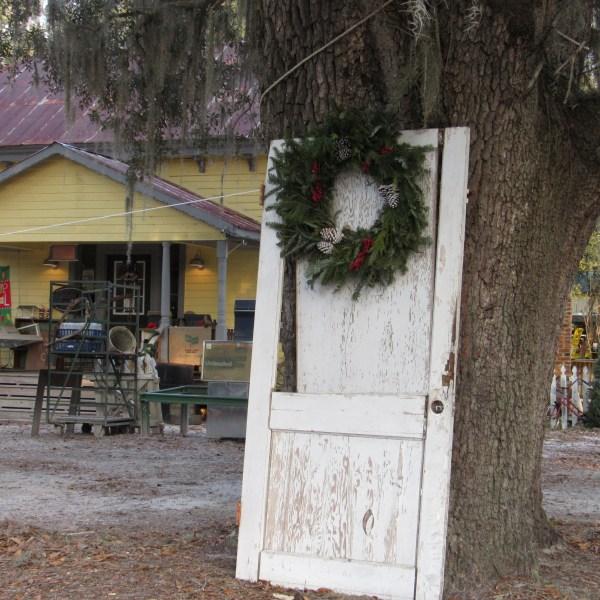 Old door with wreath