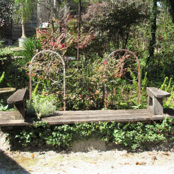 Garden wood bench
