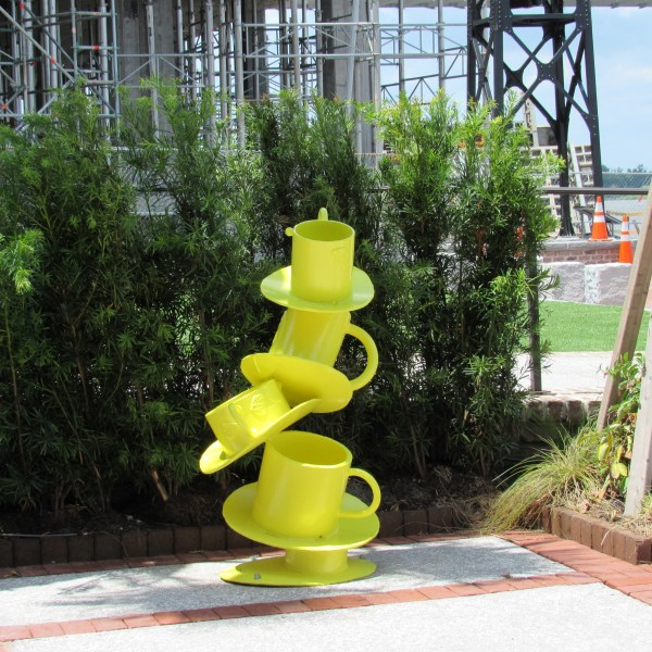 Yellow teacup sculpture