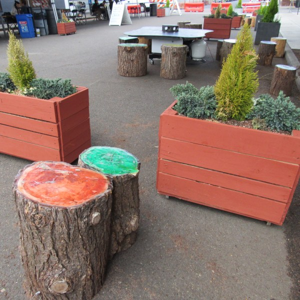 logs used as outdoor seats