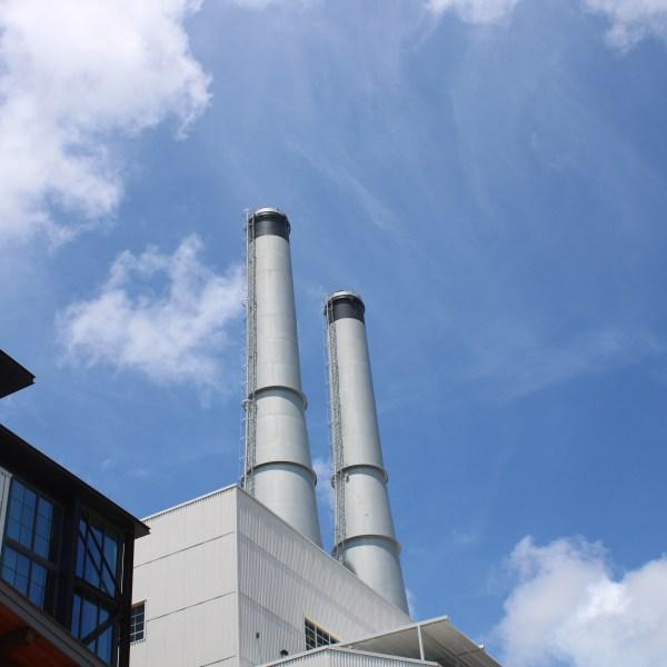 Twin smoke stacks at Plant Riverside