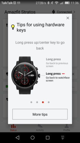 Amazfit STRATOS Review - Button Tips