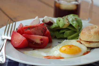 DSLR Fried Egg with Avocadoes and Mini Bagel