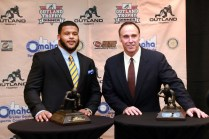 Pittsburgh defensive tackle Aaron Taylor (left), the 2013 Outland Trophy winner, poses with his trophy alongside North Carolina State center Jim Ritcher, the 1979 winner who also received his trophy at the Outland Trophy Presenation Banquet on Jan. 9 in Omaha at the Doubletree Hotel. (Photo Courtesy of the Greater Omaha Sports Committee)