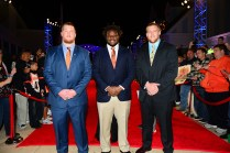 The three 2014 Outland Trophy finalists (feft to right) center Reese Dismukes of Auburn, defensive tackle Malcom Brown of Texas and offensive tackle Brandon Scherff of Iowa.