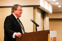 National Football Foundation President and CEO Steve Hatchell addresses the FWAA annual meeting. Photo by Melissa Macatee.