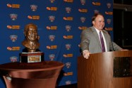TCU Coach Gary Patterson addresses the audience after receiving the FWAA Eddie Robinson Coach of the Year Award on Jan. 10, 2015, at the Renaissance Hotel in Dallas. (Melissa Macatee photo)
