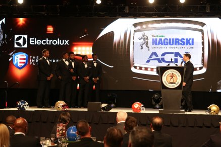 The five finalists for the 2016 Bronko Nagurski Trophy assembled on stage. (Photo by Michael Strauss, Strauss Studios.)