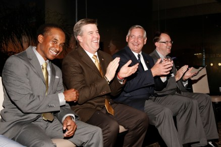 Eddie Robinson III, Colorado Coach Mike MacIntyre, Chuck Lapeyre of the Sugar Bowl and 2016 FWAA President Mark Anderson at the Eddie Robinson Coach of the Year Reception on Jan. 7, 2017, in Tampa. Photo by Melissa Macatee.