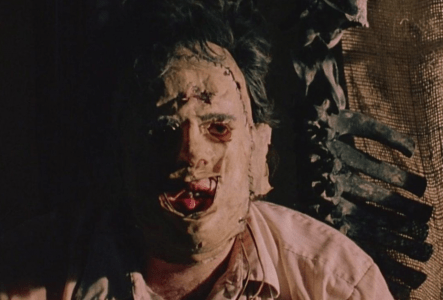 The film's first close up of Leatherface