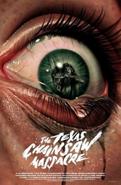 The Classic Leatherface image inside an eyeball poster
