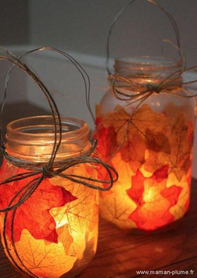 photophore automne feuilles