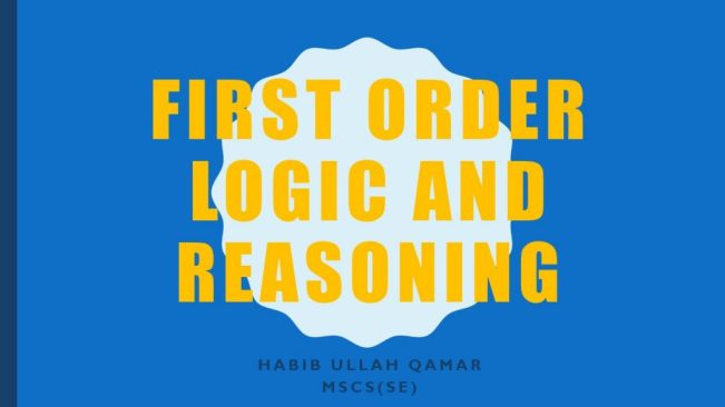 First Order Logic and Reasoning Chapter 8 AI UOS PPT Slides