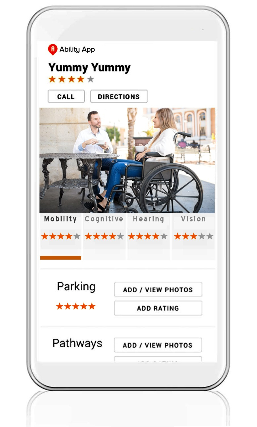 This is an image of the Ability App on a mobile device. The app displays the accessibility ratings, images and comments of a business.