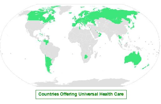 Universal Health Care by Country in Green