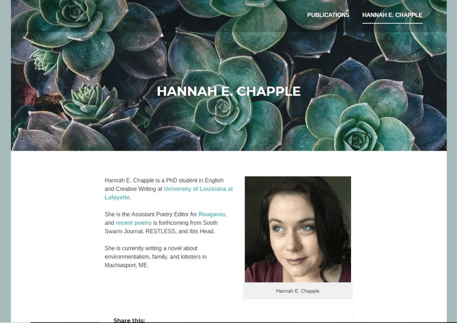 Hannah E Chapple Website