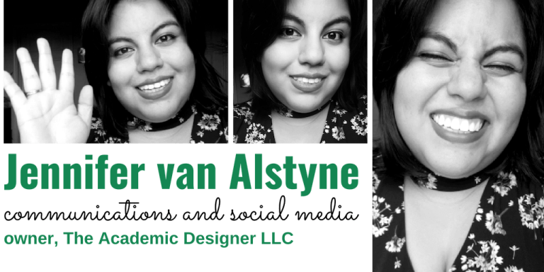 Jennifer van Alstyne: communications and social media; owner, The Academic Designer LLC
