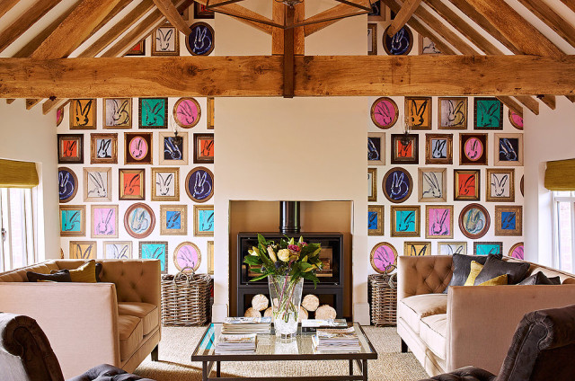 small loft decorated with hand painted pictures of rabbits