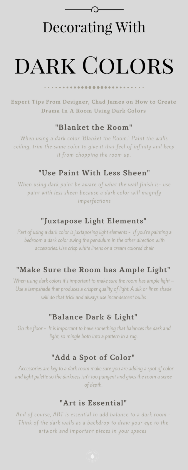 7 Expert Tips For Decorating With Dark Colors, Chad James Group