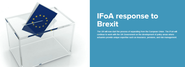 IFoA Derek Cribb coments on Brexit