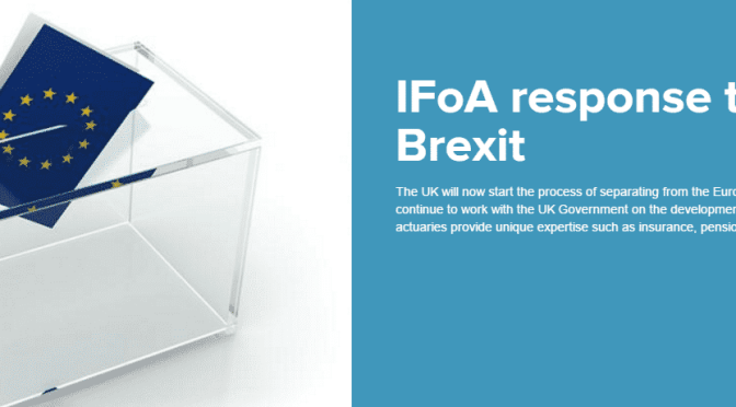 Derek Cribb, CEO of the IFoA, comments on the resulting Leave vote
