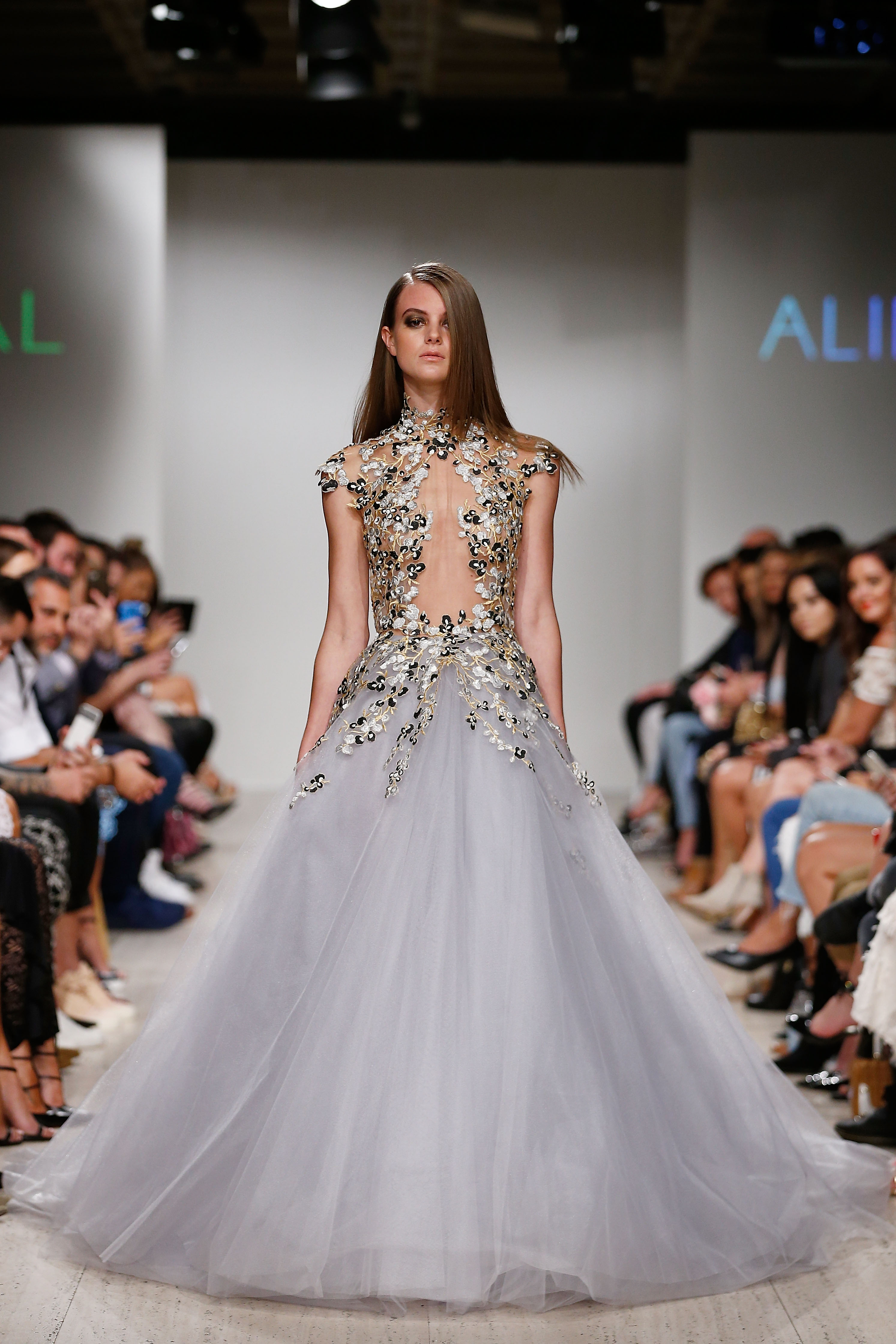 SYDNEY, AUSTRALIA - APRIL 04:  A model showcases designs by ALIN LE KAL during the Fashion Palette Sydney Spring/Summer 2017/18 show at Art Gallery Of NSW on April 4, 2017 in Sydney, Australia.  (Photo by Zak Kaczmarek/Getty Images for Fashion Palette)