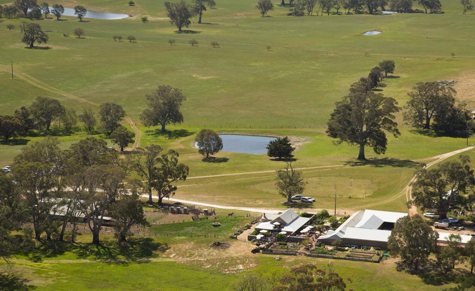 Aerial view of Hutton Vale Farm., the setting for Spring Fling with Henschke Wines.