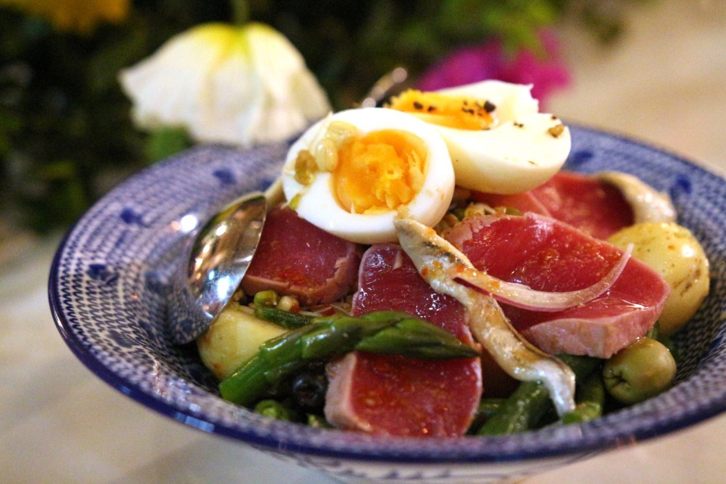 Yellow fin tuna nicoise with spring vegetables and a tangy smoked fish sauce at Madame Hanoi.