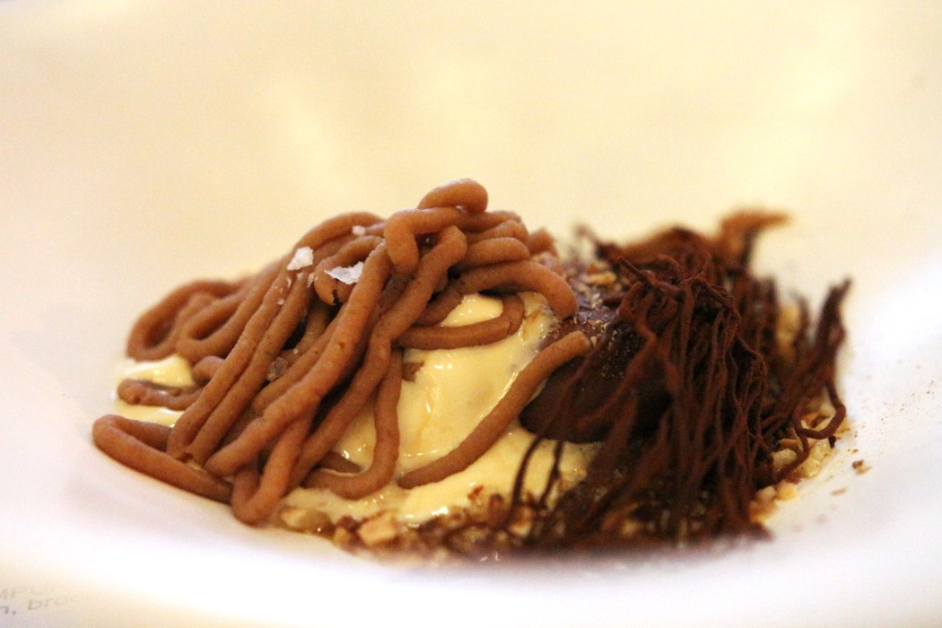 Whiskied chestnut and chocolate mousse.