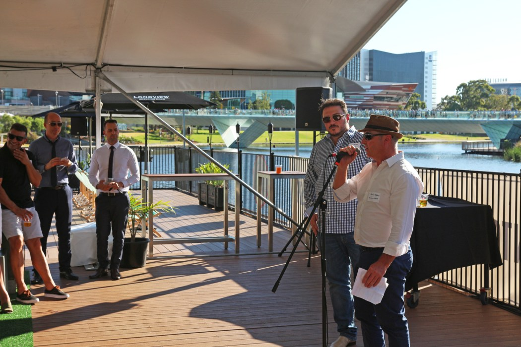 Martin Palmer and Frank Felmeri speaking at the launch of The Pontoon.
