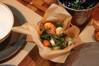 sautéed prawns with samphire and tomatoes and mussels at bucket london