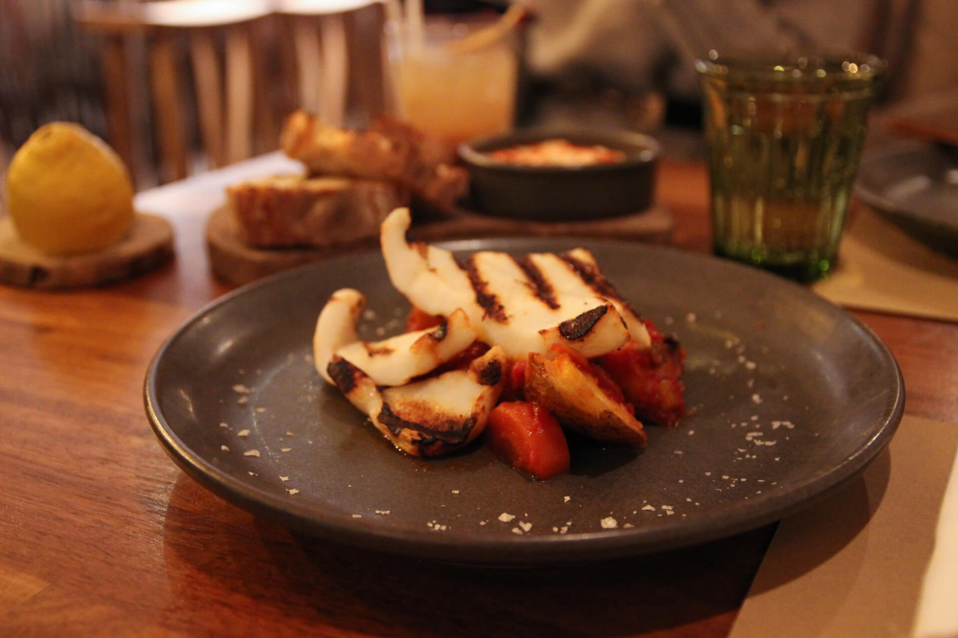 Grilled Squid Steak with Patatas Bravas