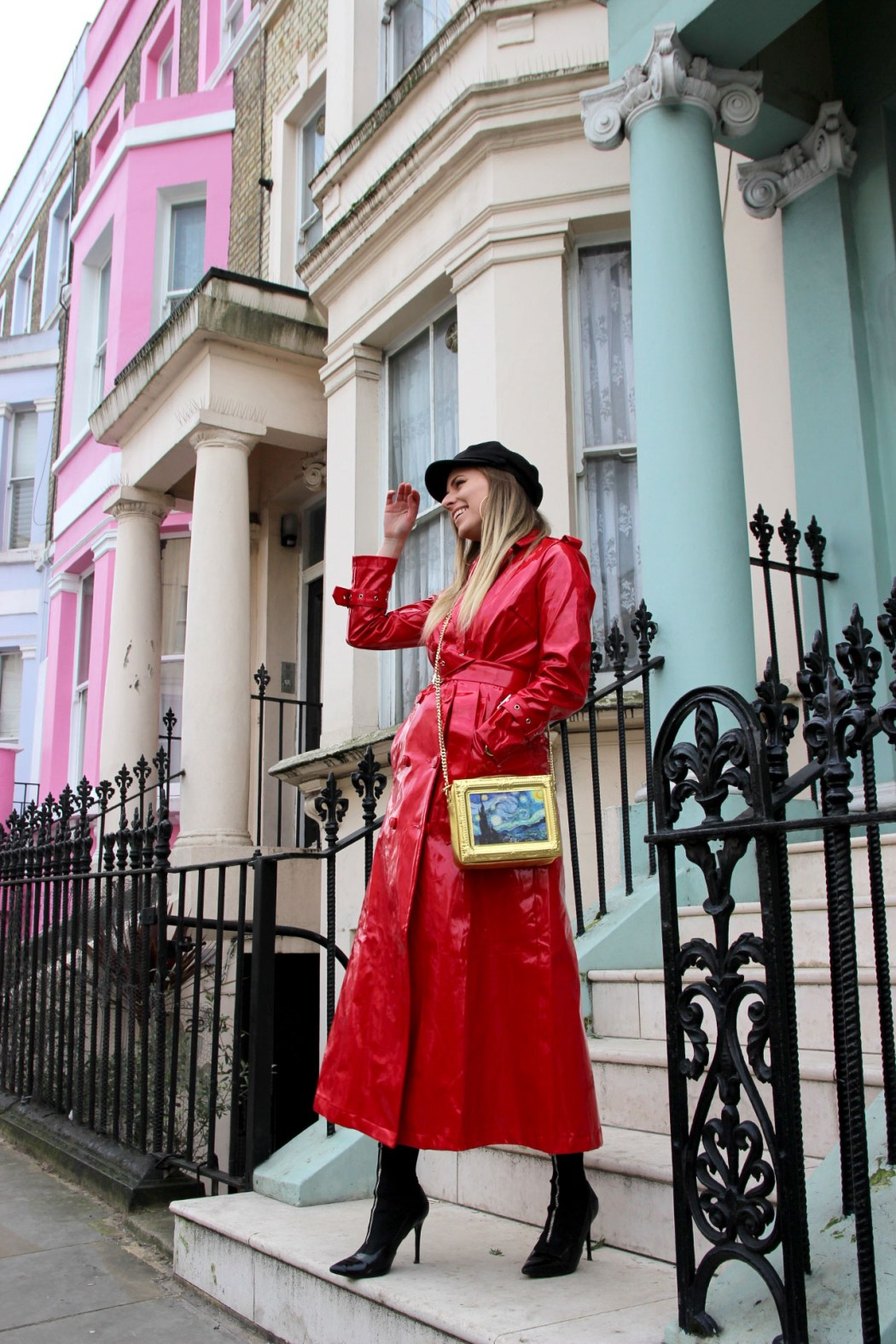 Melissa Zahorujko and colourful houses in Notting Hill, West London