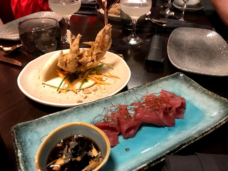 Soft shell crab and yellowfin tuna sashimi.