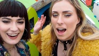 Melissa Zahorujko and Kristen Byass attend Isle of Wight Festival