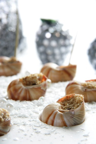 Warm Roquefort & Mulled Wine Pear Snails with Walnut Crumble