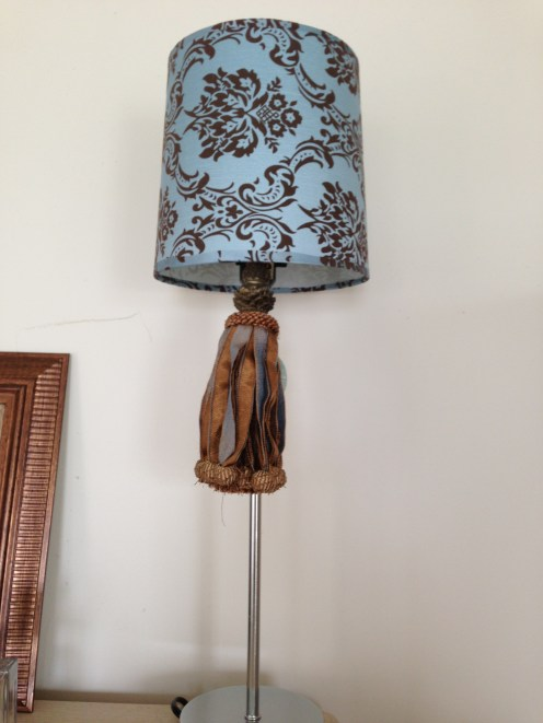 Up close view of bedroom dresser lamp from Family Dollar
