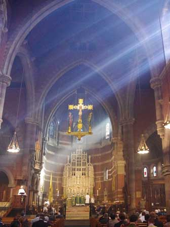 church bathed in sunlight