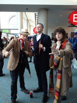 SDCC comic-con 2014 Doctor Who cosplay - Seven, Twelve, & Four